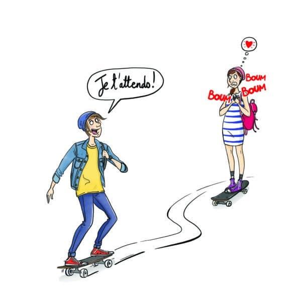 ados skate amoureux Laetitia aynié illustrations