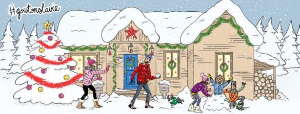 famille sous la neige jeux