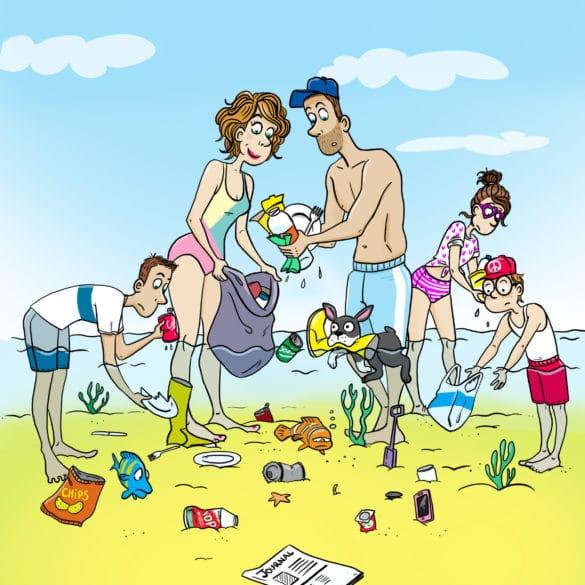 famille dans la mer ramassage des déchets