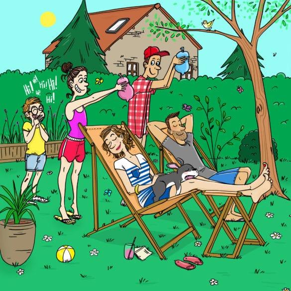 jardin parents sur des chaises longues enfants qui jouent