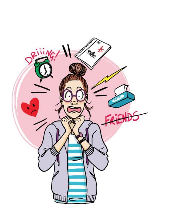 ado fille stressée humour Laetitia aynié illustrations