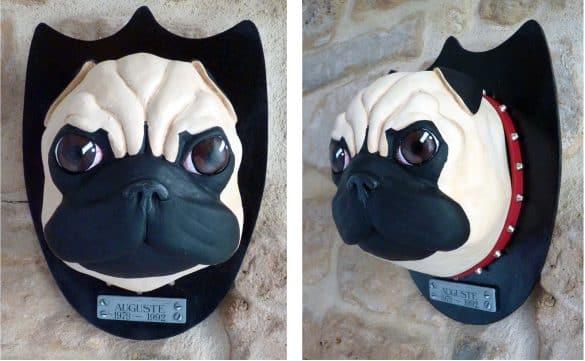 sculpture chien trophé