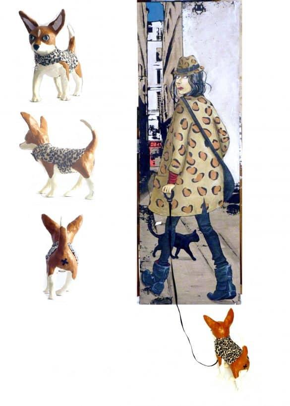 femme dans la rue chien