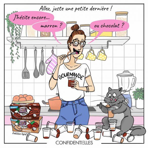 confidentielles_Charles et Alice_chat_femme_gourmande_chocolat _Laetitia aynié illustrations