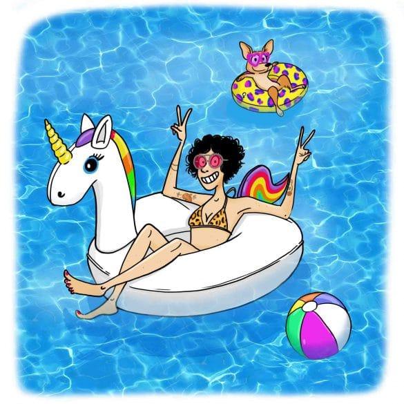 femme dans une bouée licorne et son chien  dans une piscine