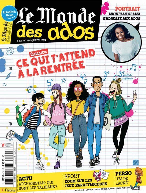 couverture du magazine le monde des ados, rentrée collège ,illustration Laëtitia Aynié, groupe d'adolescents à la rentrée des classe au collège