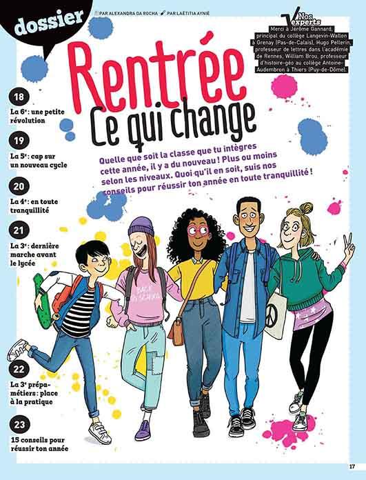 magazine le monde des ados, rentrée collège ,illustration Laëtitia Aynié, adolescents mode