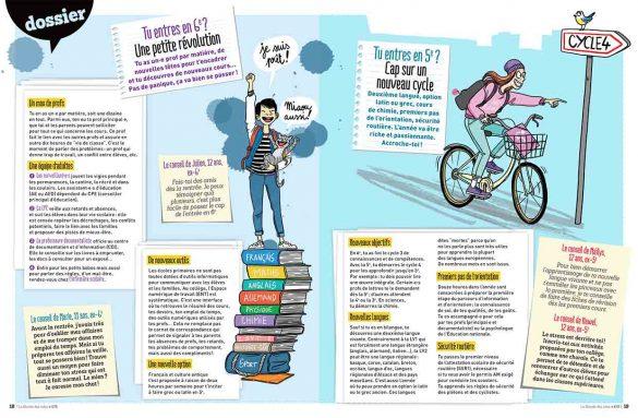 magazine le monde des ados, rentrée collège ,illustration Laëtitia Aynié, adolescent sur une pile de livres de cours avec son chat dans les bras  , fille qui fait du velo