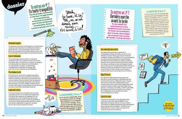 magazine le monde des ados, rentrée collège ,illustration Laëtitia Aynié, fille dans sa chambre pied sur son bureau au telephone avec son chien qui dort à coté, garçon qui monte des escaliers avec son diplôme et  cours sous le bras
