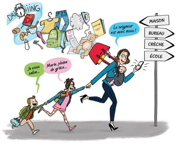 Famille Chretienne,maman debordée, Laetitia aynié, famille , rentrée famille , mère debordée, laetitia aynié illustrations